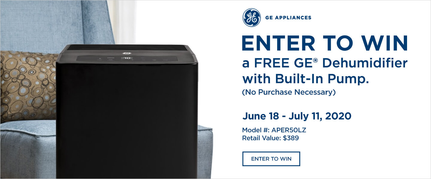 Enter to win a free GE Dehumidifier with Built-In Pump.